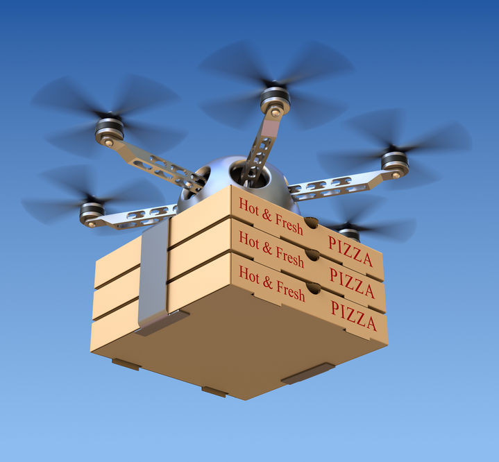 Drone delivering pizza